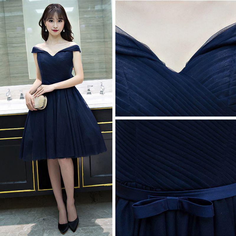 Sexy Navy Blue Graduation Dresses 2017 A-Line / Princess Backless Off-The-Shoulder Short Sleeve Short Formal Dresses