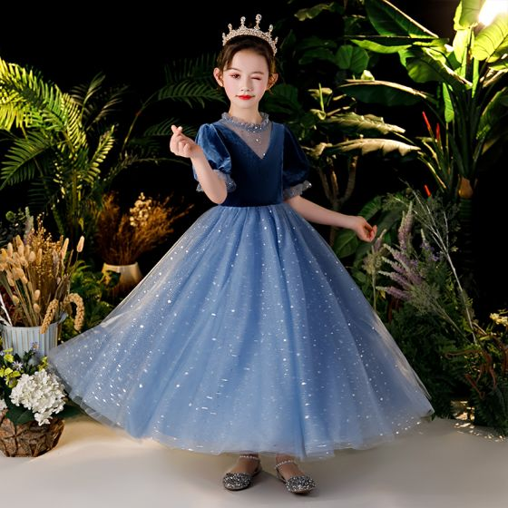 Chic / Beautiful Navy Blue Velour Birthday Flower Girl Dresses 2020 Ball Gown See-through Scoop Neck Puffy Short Sleeve Sequins Glitter Tulle Floor-Length / Long Ruffle
