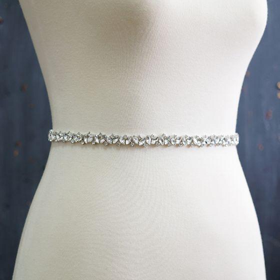 Romantic Couture White Prom Sash 2020 Satin Metal Handmade  Beading Rhinestone Bridal Wedding Evening Party Accessories