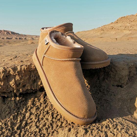 Schlicht Braun Schneestiefel 2020 Wasserdichte Leder Ankle Boots Winter Flache Freizeit Runde Zeh Stiefel Damen