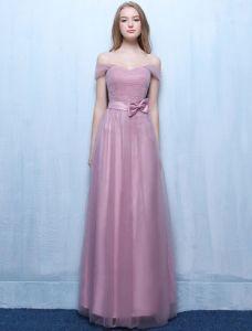 Belles Robes De Demoiselle D'honneur 2016 Au Large De La Robe De Soirée Longue De Mariage Plissé Lilas De Tulle Épaule