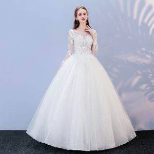 Affordable White Pierced Wedding Dresses 2017 Ball Gown Scoop Neck Long Sleeve Backless Appliques Lace Floor-Length / Long