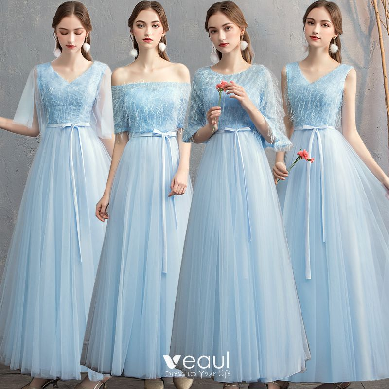 Chic Beautiful Affordable Pool Blue Bridesmaid Dresses 2019 A Line Princess Sash Floor Length Long Ruffle Backless Wedding Party