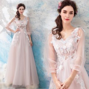 Romantic Blushing Pink Evening Dresses  2019 A-Line / Princess V-Neck Puffy 3/4 Sleeve Appliques Lace Feather Floor-Length / Long Ruffle Backless Formal Dresses