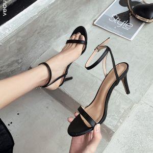 Sexy Schwarz Sommer Strassenmode Sandalen Damen 2020 Knöchelriemen 9 cm Stilettos Peeptoes Sandaletten
