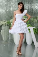 Charming One Shoulder Sweetheart Pleated Cascading Ruffles Bridal Gown Short Wedding Dress