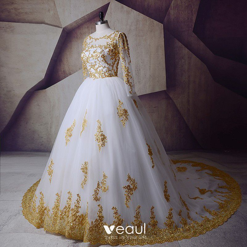 Wedding Dress White And Gold: Sparkly White Gold Wedding Dresses 2017 Scoop Neck