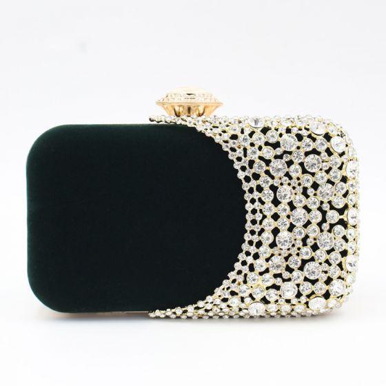 Elegant Dark Green Square Clutch Bags 2020 Metal Rhinestone