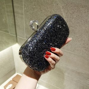 Bling Bling Starry Sky Black Glitter Clutch Bags 2018