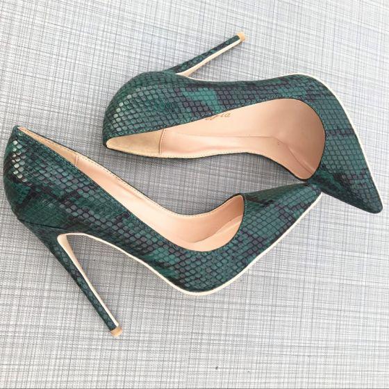 Chic / Beautiful Ink Blue Street Wear Snakeskin Print Pumps 2020 12 cm Stiletto Heels Pointed Toe Pumps
