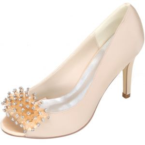 Classy Champagne Bridesmaid Wedding Shoes 2020 Satin Rhinestone 9 cm Stiletto Heels Open / Peep Toe Wedding Pumps