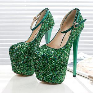 Chic / Beautiful 2017 15 cm / 6 inch Green Royal Blue Casual PU Green High Heels Stiletto Heels 15 cm Pumps