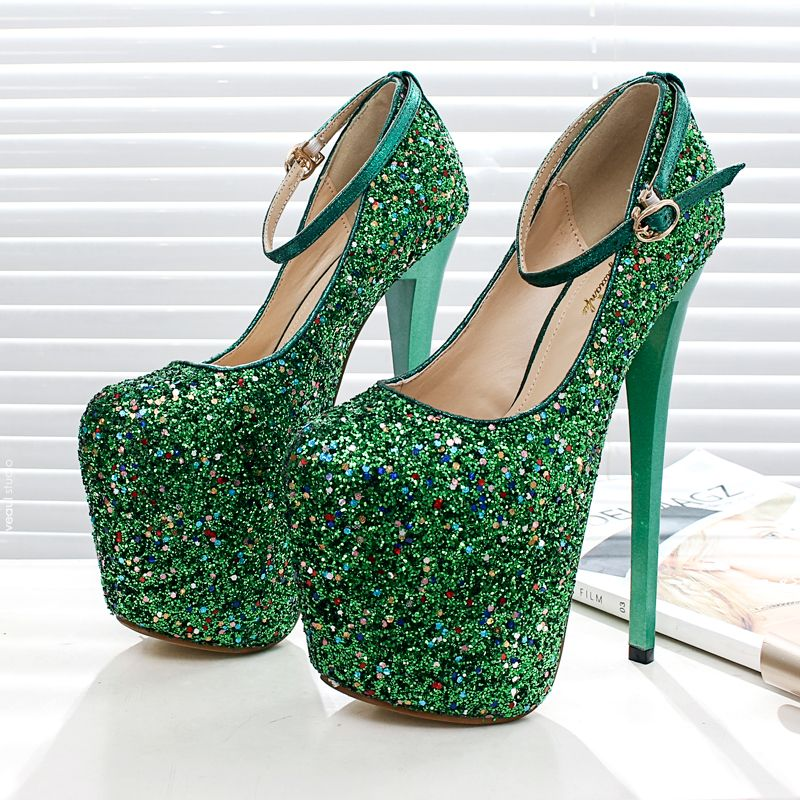 Chic / Beautiful 2017 15 cm / 6 inch Green Royal Blue Casual PU Green High Heels Stiletto Heels 15 cm Pumps