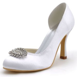 High-grade White Satin Wedding Shoes, Party Shoes Round Head High With Diamond Shoes