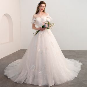 Chic / Beautiful Champagne Wedding Dresses 2018 Ball Gown See-through Square Neckline Short Sleeve Backless Appliques Lace Flower Cathedral Train Ruffle