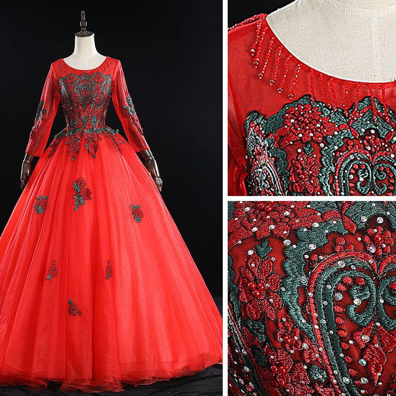 Elegant Red Prom Dresses 2019 Ball Gown Scoop Neck Beading Tassel Rhinestone Lace Flower Long Sleeve Backless Floor-Length / Long Formal Dresses