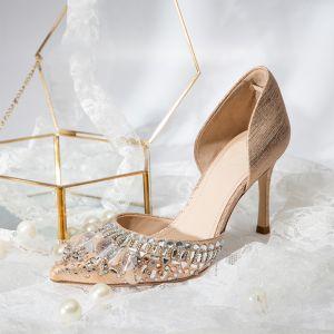 Mooie / Prachtige Champagne Bruidsschoenen 2019 Leer Rhinestone 8 cm Naaldhakken / Stiletto Spitse Neus Huwelijk Hoge Hakken