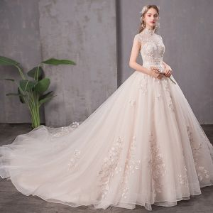 30dfc6433ea Vintage   Retro Champagne See-through Wedding Dresses 2019 A-Line    Princess High