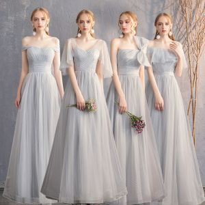 Discount Grey Bridesmaid Dresses 2019 A-Line / Princess Spotted Tulle Floor-Length / Long Ruffle Backless Wedding Party Dresses