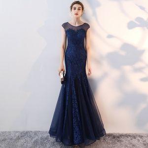 Schöne Marineblau Abendkleider 2017 Mermaid Mit Spitze Blumen Rundhalsausschnitt Ärmellos Knöchellänge Festliche Kleider