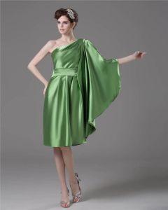 Elegante De La Colmena De Charmeuse Vestido De Cóctel Hasta La Rodilla De Un Hombro