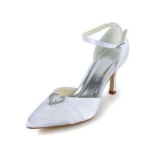 Beautiful White Wedding Shoes With Heart Shaped Rhinestone Stilettos Ankle Strap Pumps