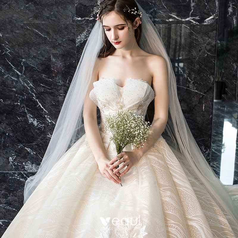 Luxury / Gorgeous Champagne Wedding Dresses 2019 A-Line / Princess Sweetheart Sleeveless Backless Appliques Lace Sequins Beading Cathedral Train Ruffle