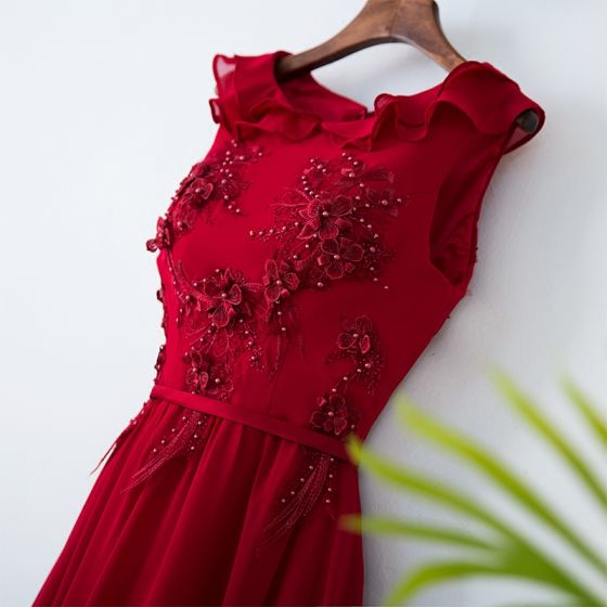 Chic / Beautiful Red Chinese style Evening Dresses  2017 A-Line / Princess Scoop Neck Zipper Up Appliques Sleeveless Beading Flower Lace Tulle Floor-Length / Long Evening Party