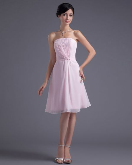 Formal Style Strapless Knee Length Beading Pleated Chiffon Bridesmaid Dress