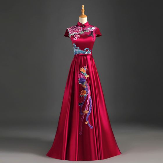 Chinese style Burgundy Evening Dresses  2019 A-Line / Princess High Neck Bow Appliques Lace Cap Sleeves Backless Floor-Length / Long Formal Dresses