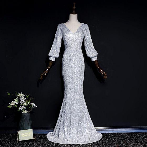 Glitzernden Grau Pailletten Abendkleider 2020 Meerjungfrau V-Ausschnitt Geschwollenes Lange Ärmel Lange Rückenfreies Festliche Kleider