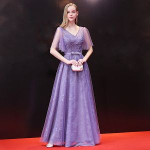 Chic / Beautiful Lilac Evening Dresses  2018 A-Line / Princess Beading Rhinestone Bow V-Neck Backless Short Sleeve Floor-Length / Long Formal Dresses