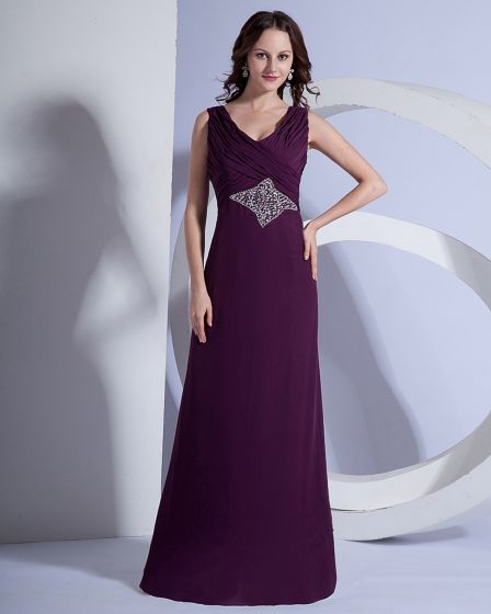 Chiffon Beaded V Neck Sleeveless Floor Length Mothers of Bride Guests Dresses