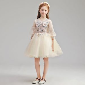 Chic / Beautiful Champagne Flower Girl Dresses 2019 A-Line / Princess Scoop Neck Puffy 3/4 Sleeve Appliques Lace Pearl Rhinestone Short Ruffle Wedding Party Dresses