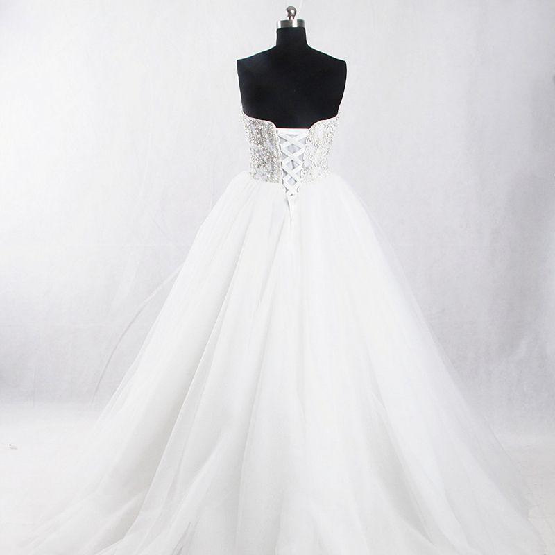 Amazing / Unique White Court Train Wedding 2018 Ball Gown Tulle Backless Beading Corset Rhinestone Wedding Dresses