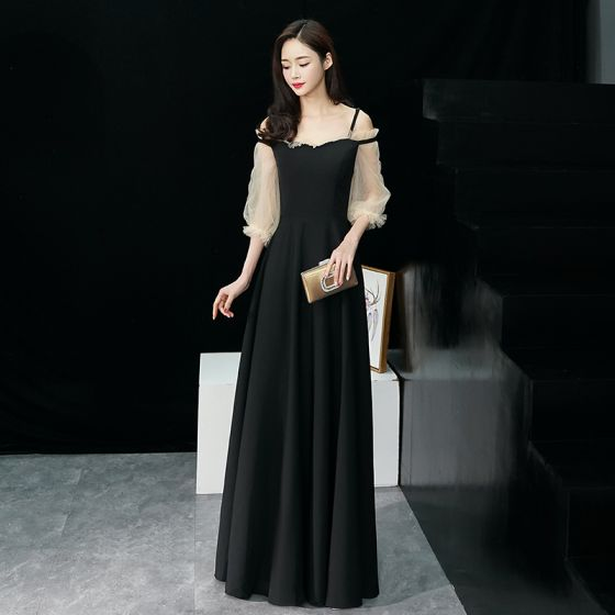 Elegant Black Evening Dresses  2019 A-Line / Princess Spaghetti Straps Puffy 3/4 Sleeve Floor-Length / Long Ruffle Backless Formal Dresses