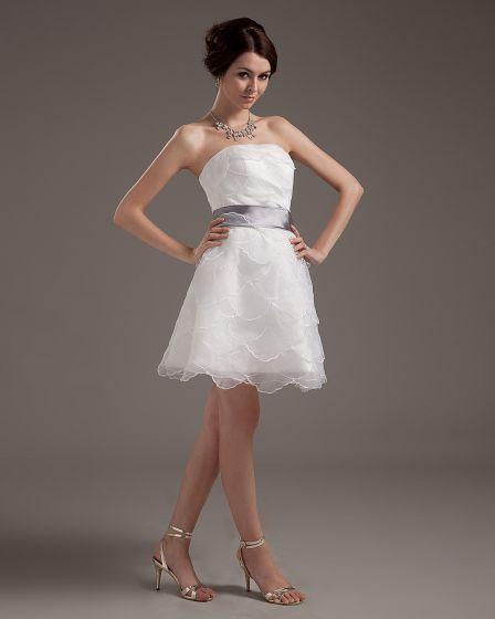 Yarn Layered Ruffle Strapless Short Bridal Gown Wedding Dress
