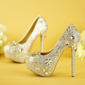 Sparkly Silver Wedding Shoes 2019 Metal Flower Crystal Rhinestone 14 cm Stiletto Heels Round Toe Wedding Pumps