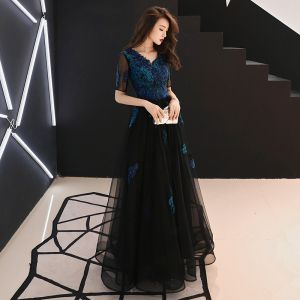 Affordable Navy Blue Evening Dresses  2019 A-Line / Princess V-Neck Short Sleeve Appliques Lace Beading Floor-Length / Long Ruffle Backless Formal Dresses