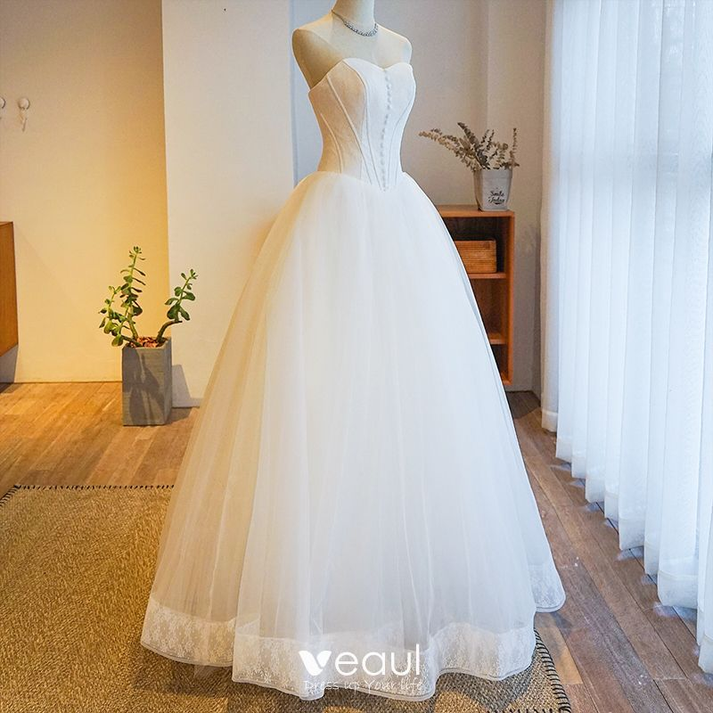 Modest Simple Ivory Wedding Dresses 2019 Ball Gown Strapless Lace Sleeveless Backless Floor Length Long