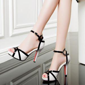 Chic / Beautiful 2017 White Outdoor / Garden PU High Heels Stiletto Heels Pumps Open / Peep Toe 8 cm / 3 inch Pumps