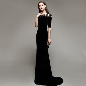 Elegant Modest / Simple Black Evening Dresses  2020 Trumpet / Mermaid Suede Scoop Neck Lace Flower 1/2 Sleeves Sweep Train Formal Dresses