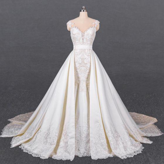 Luxury / Gorgeous White Satin Bridal Wedding Dresses 2020 Trumpet / Mermaid See-through Scoop Neck Sleeveless Sash Appliques Lace Beading Detachable Cathedral Train Ruffle