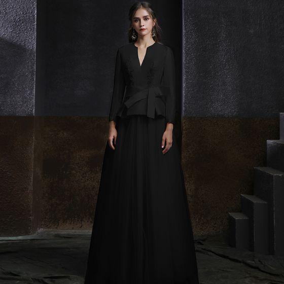Mode Zwarte Satijn Moeder Van De Bruid Kleding 2020 A lijn V-Hals Lange Mouwen Gordel Kralen Lange