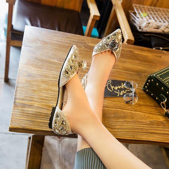 Chic / Belle 2017 Argenté Soirée Similicuir Cristal Glitter Plate Plateforme Chaussure De Mariée