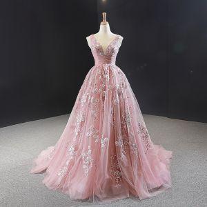 Chic Perle Rose Robe De Soirée 2020 Princesse V-Cou Sans Manches Fleur Appliques En Dentelle Perlage Train De Balayage Volants Dos Nu Robe De Ceremonie