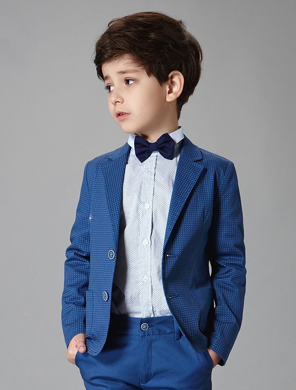 Boys Wedding Suits 2017 Blue Speckle 3 Sets