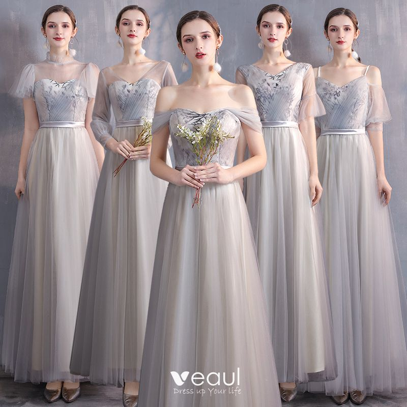 Affordable Champagne Grey Bridesmaid Dresses 2020 A Line Princess Appliques Lace Sash Floor Length Long Ruffle Wedding Party Dresses,Formal Dress For Winter Wedding