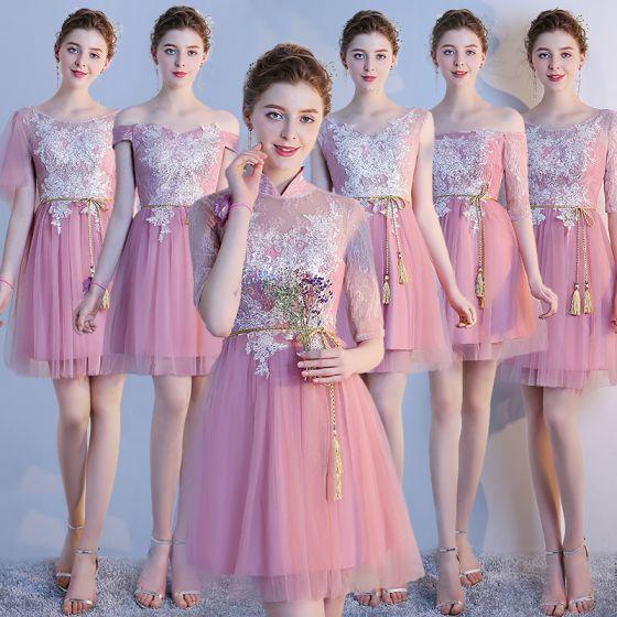 18716f77a9 Hermoso Rosa Clara Vestidos De Damas De Honor 2018 A-Line   Princess  Apliques Con Encaje Bowknot ...
