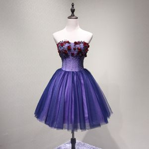 Sexy Purple Party Dresses 2018 A-Line / Princess Appliques Beading Crystal Sequins Bow Strapless Backless Sleeveless Short Formal Dresses